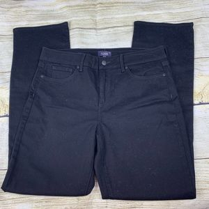 NYDJ Marilyn Straight Black Denim Jeans Stretch